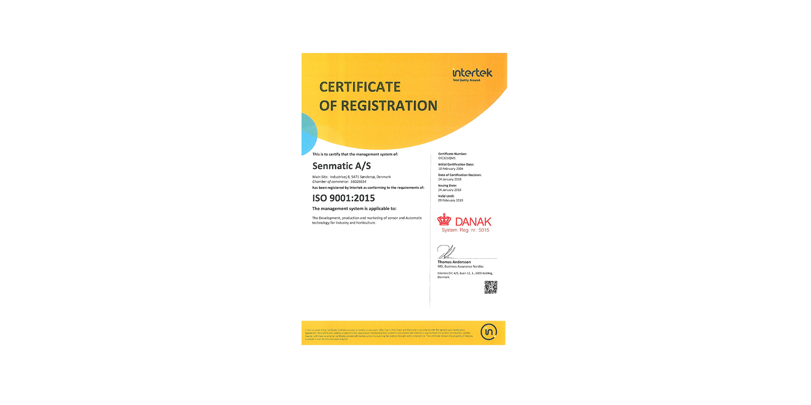 Senmatic is transferring from ISO9001-2008 to ISO9001-2015